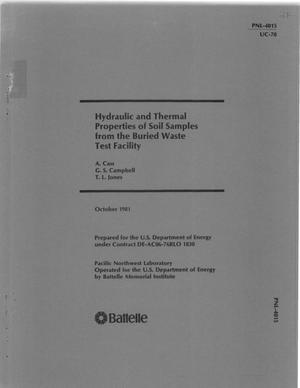 Primary view of object titled 'Hydraulic and thermal properties of soil samples from the buried waste test facility'.