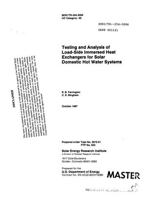 Primary view of object titled 'Testing and analysis of load-side immersed heat exchangers for solar domestic hot water systems'.