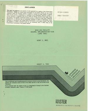 Primary view of object titled 'NESD CAE facility minimal implementation plan (June 1982)'.