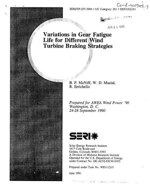 Primary view of object titled 'Variations in gear fatigue life for different wind turbine braking strategies'.