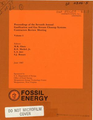 Primary view of object titled 'Proceedings of the seventh annual gasification and gas stream cleanup systems contractors review meeting: Volume 1'.
