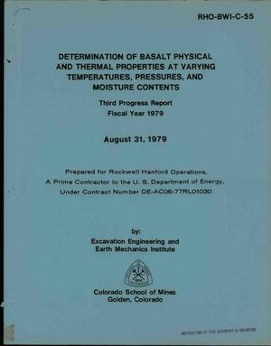 Primary view of object titled 'Determination of basalt physical and thermal properties at varying temperatures, pressures, and moisture contents. Third progress report, fiscal year 1979'.