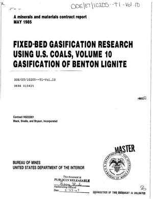 Primary view of object titled 'Fixed-bed gasification research using US coals. Volume 10. Gasification of Benton lignite'.