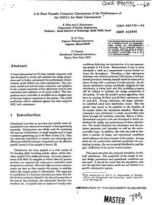Primary view of object titled '3-D heat transfer computer calculations of the performance of the IAEA's air-bath calorimeters'.