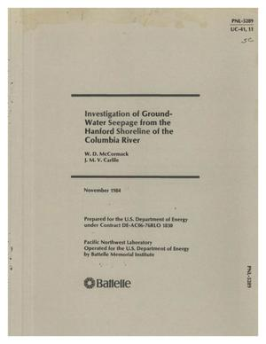 Primary view of object titled 'Investigation of groundwater seepage from the Hanford shoreline of the Columbia River'.