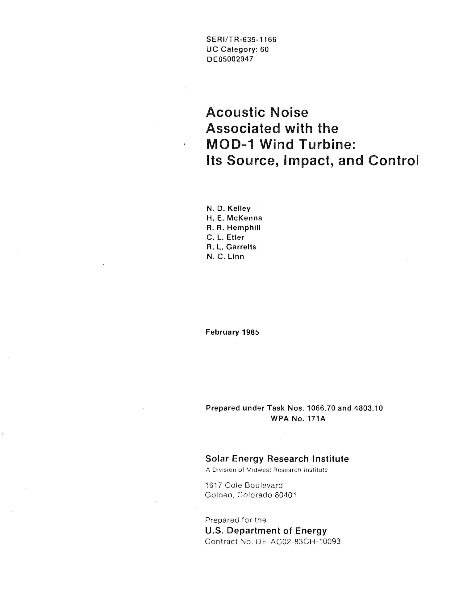 Acoustic noise associated with the MOD-1 wind turbine: its source, impact, and control                                                                                                      [Sequence #]: 1 of 262