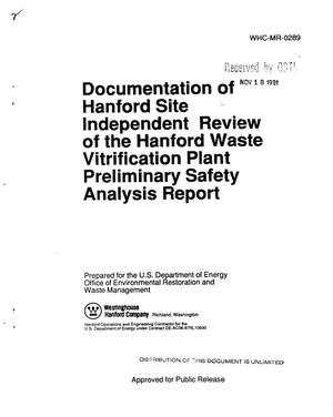 Primary view of object titled 'Documentation of Hanford Site independent review of the Hanford Waste Vitrification Plant Preliminary Safety Analysis Report'.