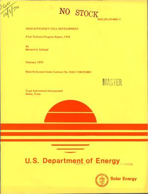 Primary view of object titled 'High efficiency cell development. Final technical progress report, 1978. Texas Instruments report No. 03-79-16. [Tandem Junction Cell with back contacts]'.