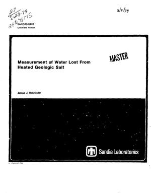 Primary view of object titled 'Measurement of water lost from heated geologic salt'.