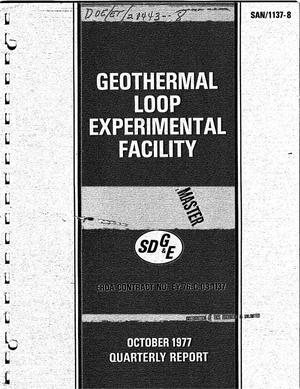 Primary view of object titled 'SDG and E - DOE Geothermal Loop Experimental Facility. Quarterly report, July-September 1977 and annual report for the year ending September 1977'.