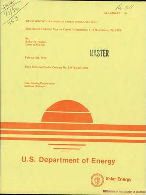 Primary view of object titled 'Development of superior liquid coolants CCF-1. Semiannual technical progress report for September 1, 1978-February 28, 1979'.