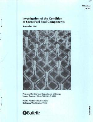 Primary view of object titled 'Investigation of the condition of spent-fuel pool components'.