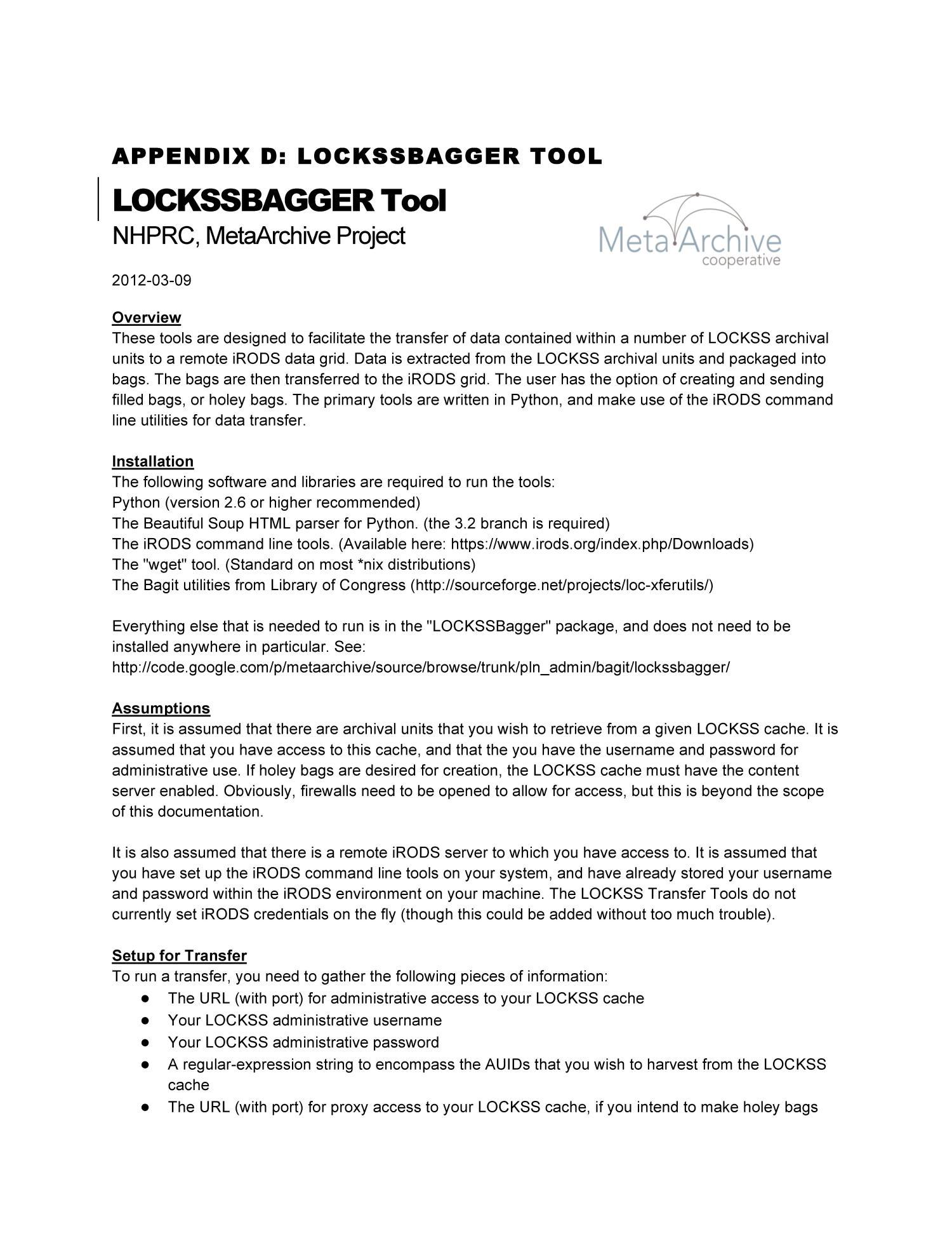 Appendix D: LOCKSSBAGGER Tool - Digital Library