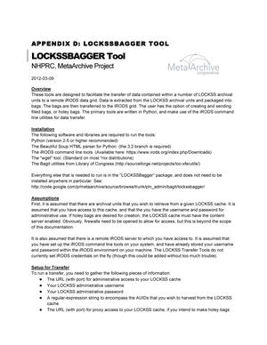 Primary view of object titled 'Appendix D: LOCKSSBAGGER Tool'.