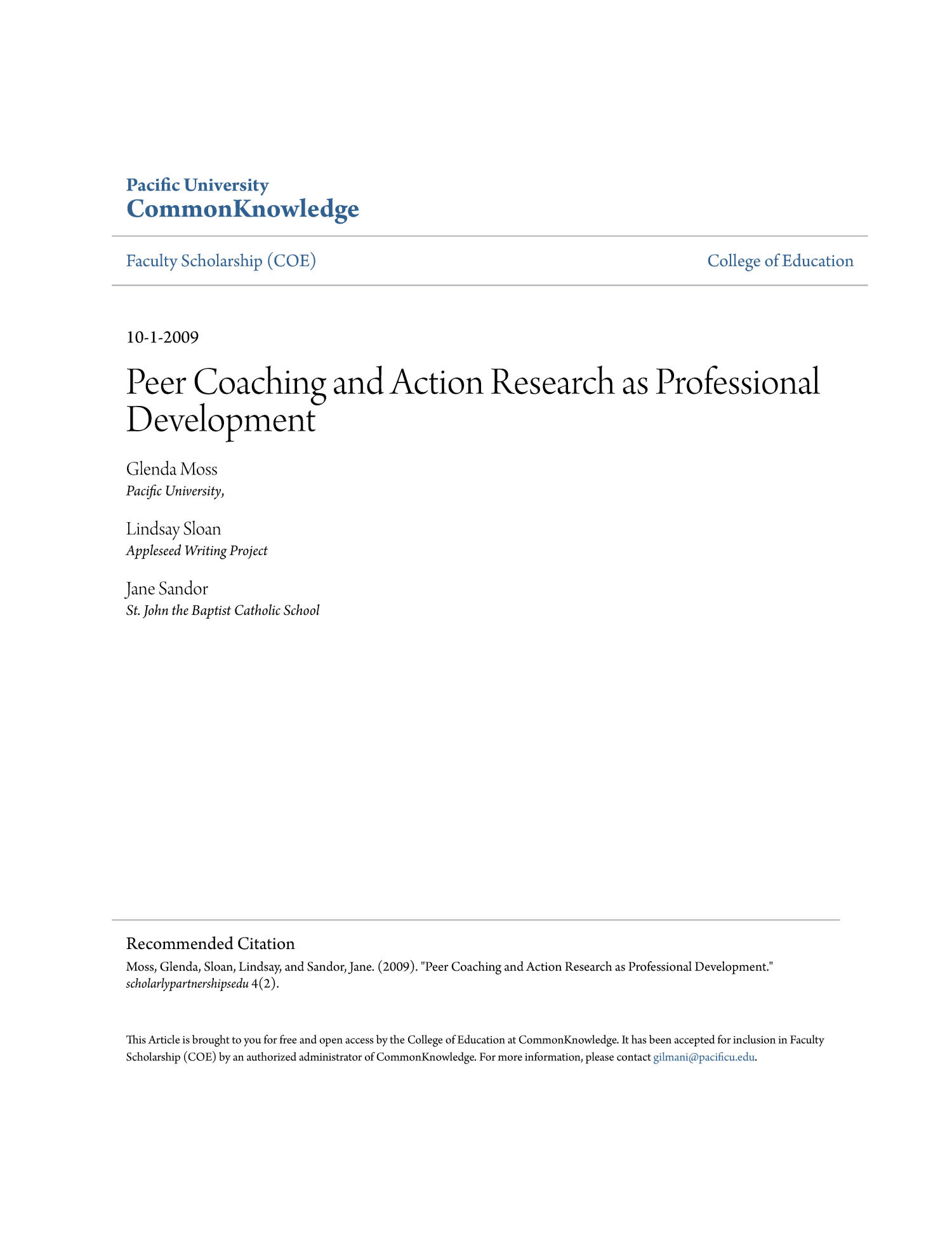 Peer Coaching and Action Research as Professional Development                                                                                                      Title Page