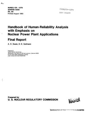 Primary view of object titled 'Handbook of human-reliability analysis with emphasis on nuclear power plant applications. Final report'.