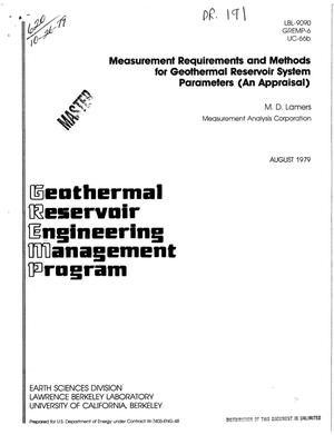 Primary view of object titled 'Measurement requirements and methods for geothermal reservoir system parameters: an appraisal'.