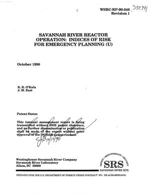 Primary view of object titled 'Savannah River Reactor Operation: Indices of risk for emergency planning'.