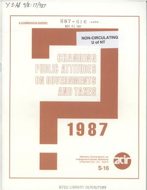 Primary view of object titled 'Changing public attitudes on governments and taxes, 1987'.