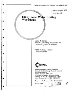 Primary view of object titled 'Utility solar water heating workshops'.