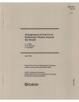 Primary view of object titled 'Management of low-level radioactive wastes around the world'.