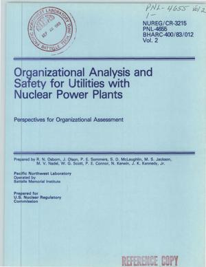 Primary view of object titled 'Organizational analysis and safety for utilities with nuclear power plants: perspectives for organizational assessment. Volume 2. [PWR; BWR]'.