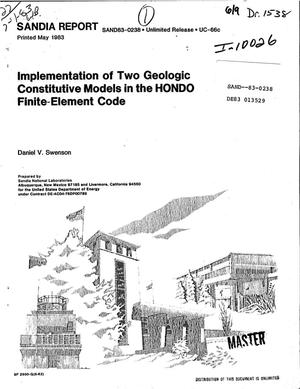 Primary view of object titled 'Implementation of two geologic constitutive models in the HONDO finite-element code'.