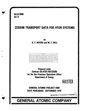 Primary view of object titled 'Cesium transport data for HTGR systems'.
