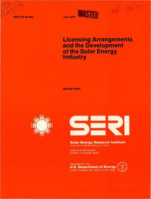 Primary view of object titled 'Licensing arrangements and the development of the solar energy industry'.