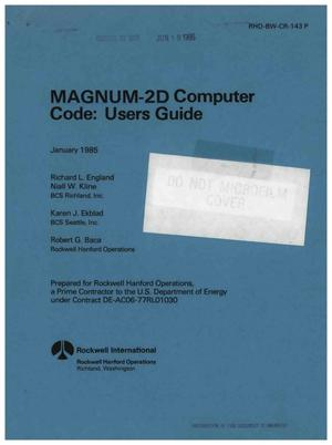 Primary view of object titled 'MAGNUM-2D computer code: user's guide'.