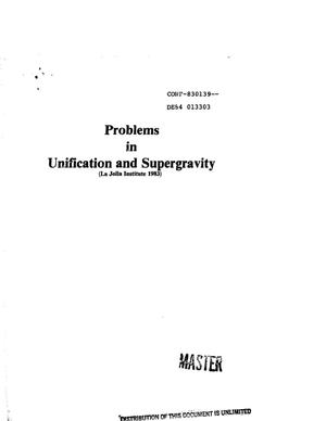 Primary view of object titled 'Problems in unification and supergravity'.