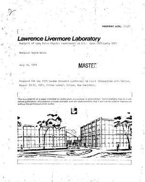 Primary view of object titled 'Analysis of long pulse physics experiments at LLL: Late 1977-Early 1979'.