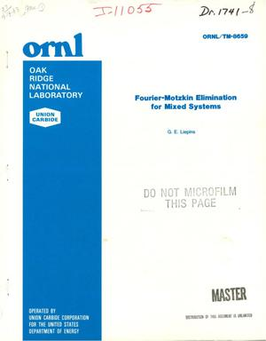 Primary view of object titled 'Fourier-Motzkin elimination for mixed systems'.