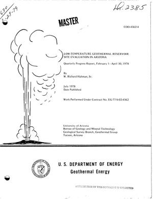 Primary view of object titled 'Low-temperature geothermal reservoir site evaluation in Arizona. Quarterly progress report, February 1--April 30, 1978'.