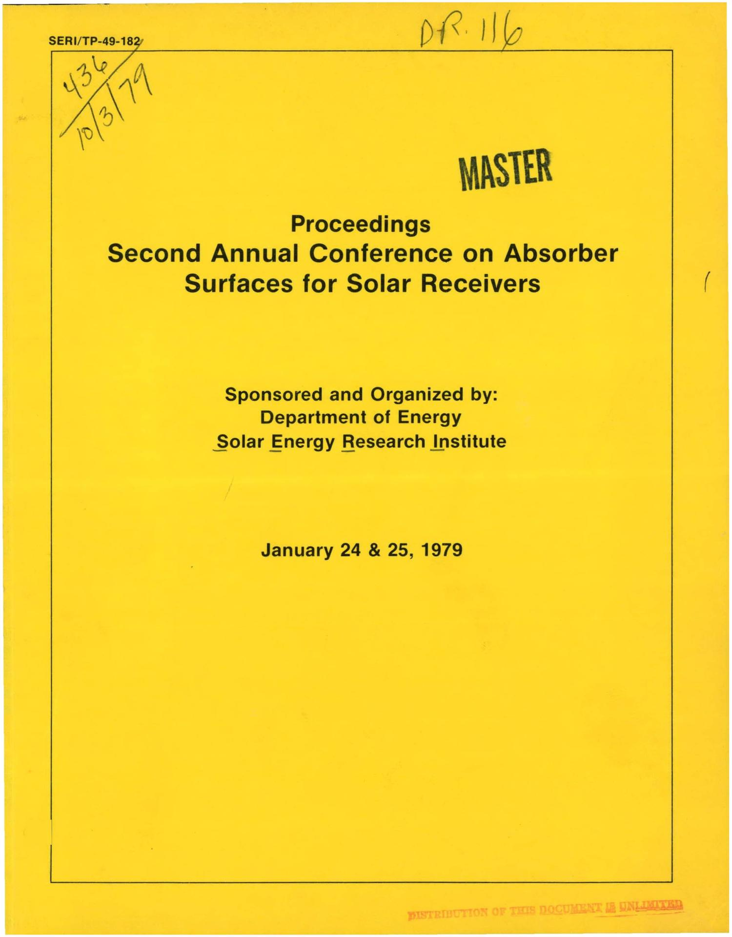 Second annual conference on absorber surfaces for solar receivers                                                                                                      [Sequence #]: 1 of 222