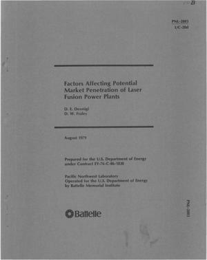 Primary view of object titled 'Factors affecting potential market penetration of laser fusion power plants'.