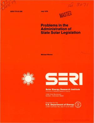 Primary view of object titled 'Problems in the administration of state solar legislation'.