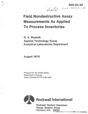 Primary view of object titled 'Field nondestructive assay measurements as applied to process inventories'.