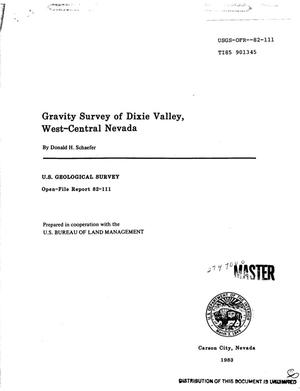 Primary view of object titled 'Gravity survey of Dixie Valley, west-central Nevada'.
