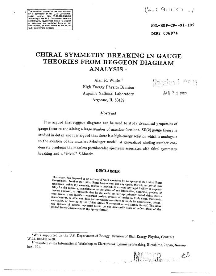 Chiral symmetry breaking in gauge theories from reggeon diagram chiral symmetry breaking in gauge theories from reggeon diagram analysis ccuart Images