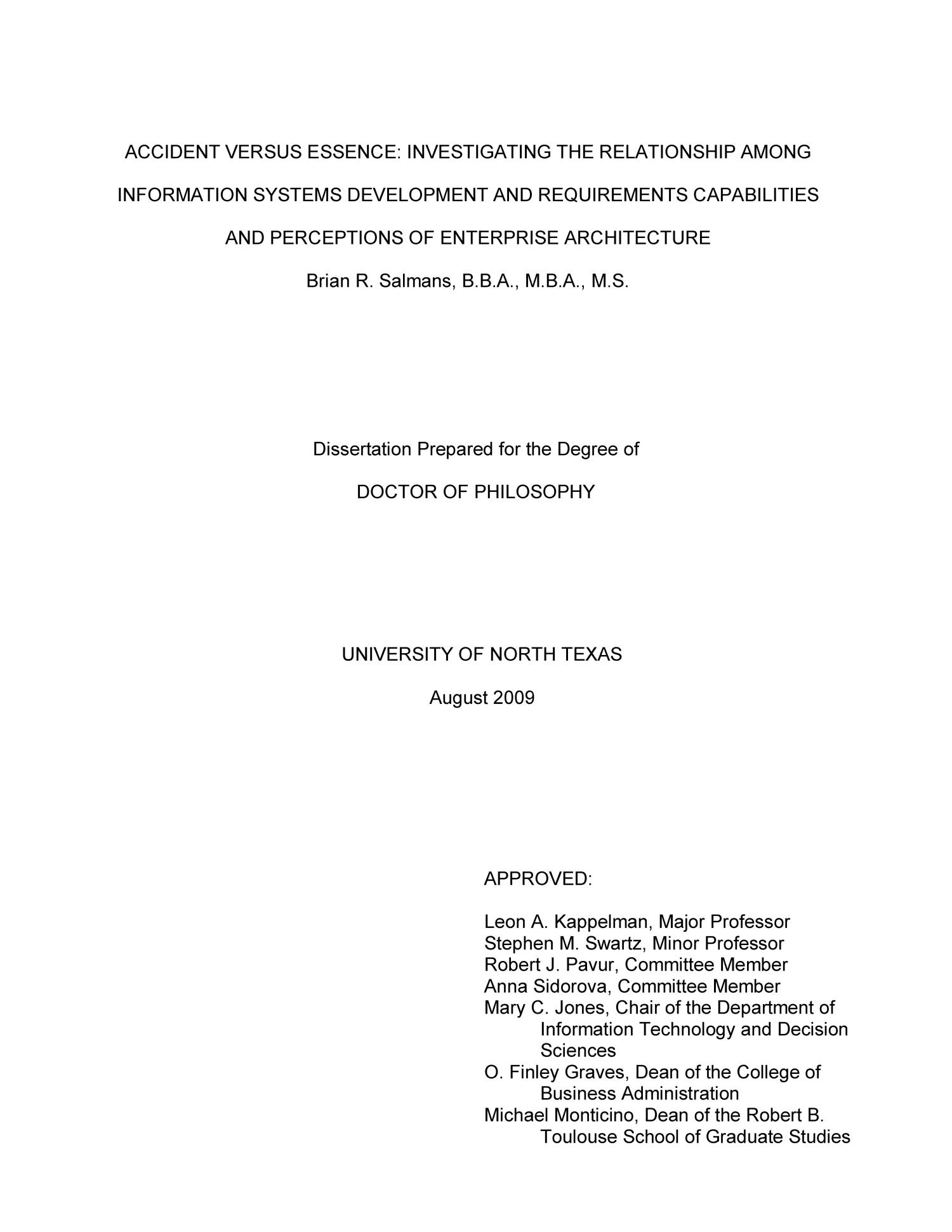 Accident versus Essence:  Investigating the Relationship Among Information Systems Development and Requirements Capabilities and Perceptions of Enterprise Architecture                                                                                                      Title Page