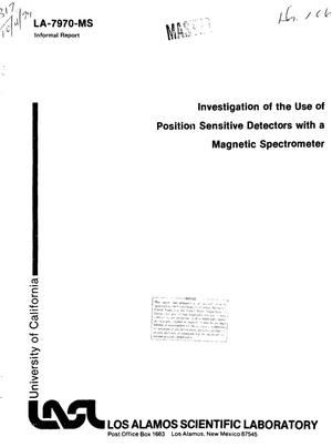 Primary view of object titled 'Investigation of the use of position sensitive detectors with a magnetic spectrometer'.
