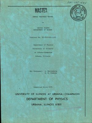 Primary view of object titled 'Annual progress report. [Summaries of research activities and Univ. of Illinois]'.