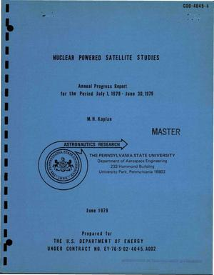 Primary view of object titled 'Nuclear powered satellite studies. Annual progress report, July 1, 1978-June 30, 1979'.