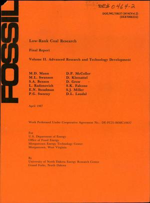 Primary view of object titled 'Low-rank coal research: Volume 2, Advanced research and technology development: Final report'.
