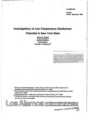 Primary view of object titled 'Investigations of low-temperature geothermal potential in New York State'.