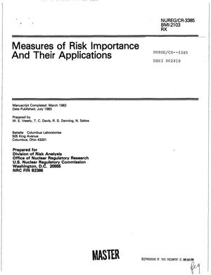 Primary view of object titled 'Measures of risk importance and their applications. [PWR; BWR]'.