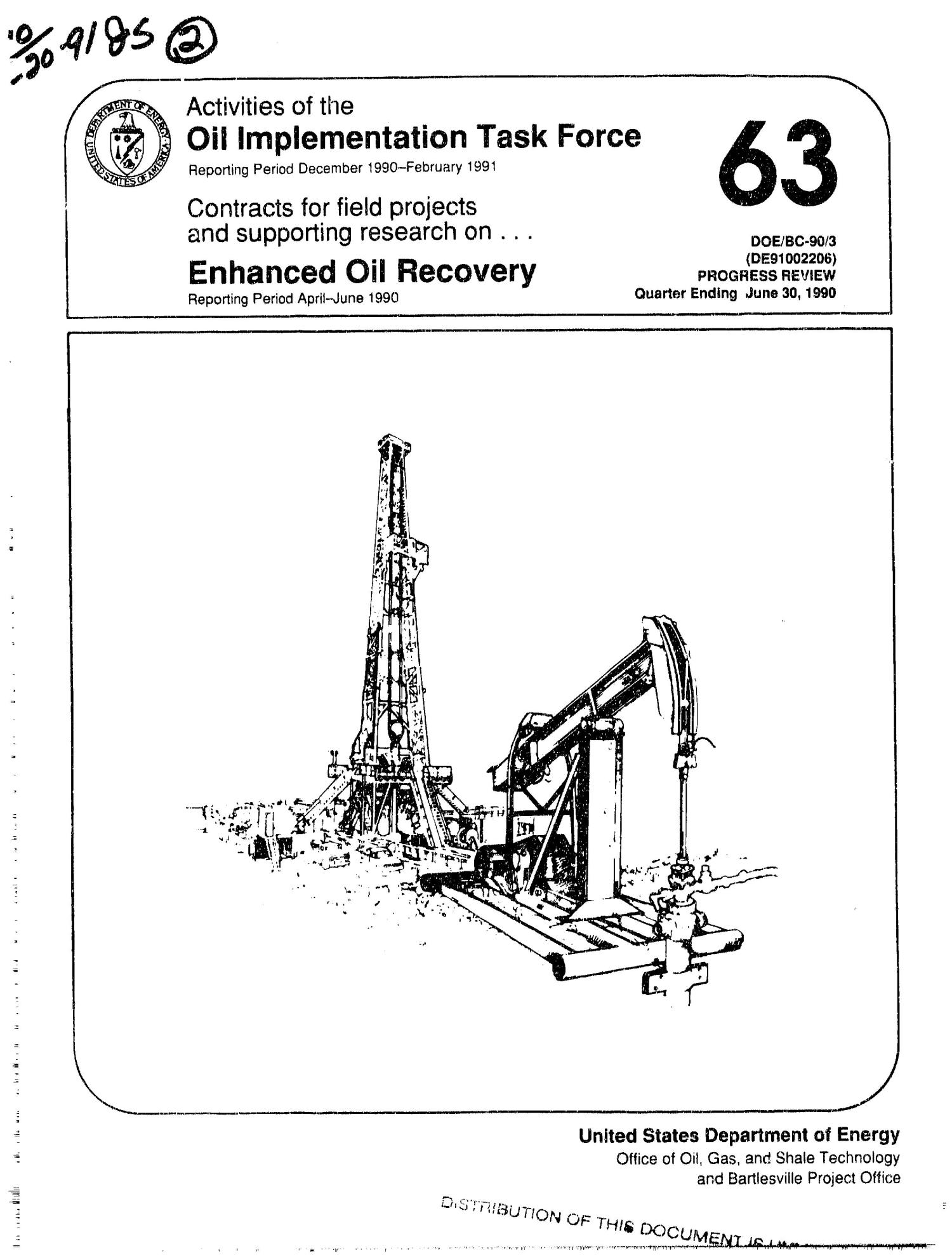 Activities of the Oil Implementation Task Force, December 1990--February 1991; Contracts for field projects and supporting research on enhanced oil recovery, April--June 1990                                                                                                      [Sequence #]: 1 of 164