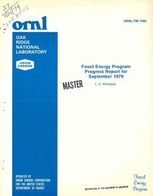 Primary view of object titled 'Fossil Energy Program. Progress report for September 1979'.
