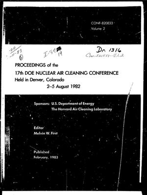 Primary view of object titled '17th DOE nuclear air cleaning conference: proceedings. Volume 2'.